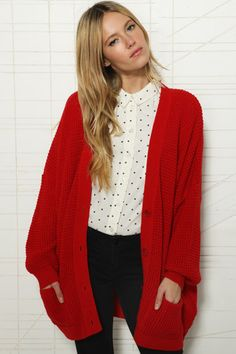 chunky cardigan - I adore long sleeves and around-the-butt lengths ...