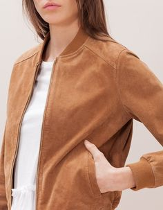 At Stradivarius you'll find 1 Cazadora béisbol ante for woman for just 999 MXN… Brown Bomber Jacket, Bomber Jacket Outfit, Love Fashion, Fashion Outfits, Trench Coats, Blazers, Jackets For Women, Cute Outfits, Baseball