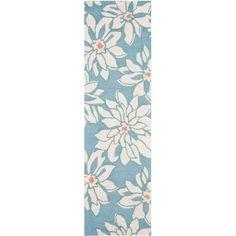 Safavieh Blossom Salina Wool 2'-3 inch X 8' Runner Rug, Light Blue/Ivory