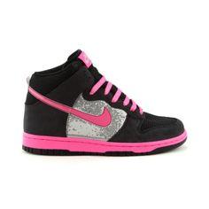 Pink  black high-top Nikes