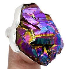 15g-Titanium-Aura-Quartz-925-Sterling-Silver-Ring-Jewelry-s-8-SR178648
