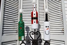 Set of 3 Christmas Wine Bottle Candelabras by KJPCraftDesigns