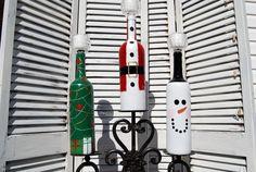 Set of 3 Decorative Christmas Wine Bottle by KJPCraftDesigns, $25.00