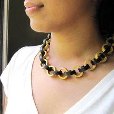Schwarz und Gold Kette - ersten Jahrestag Geschenk - Papier-Schmuck - Big Fett klobige Kette - Anweisung Schmuck - einzigartige Halskette
