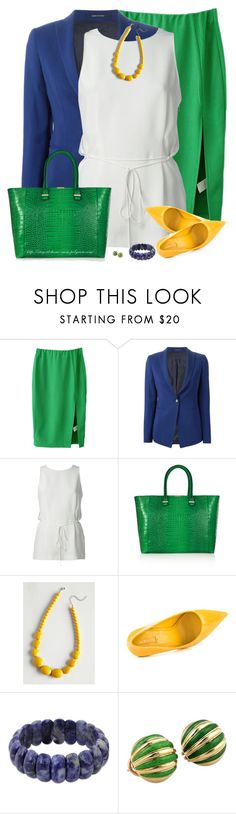 """Green, Blue & Yellow"" by amber-1991 ❤ liked on Polyvore featuring Tagliatore, Alexander Wang, Victoria Beckham, ALDO, NOVICA and Tiffany & Co."