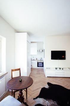 Studio apartment in Helsinki, mini kitchen, small home, herringbone floor Mini Kitchen, Kitchen Small, Studio Apartment, Helsinki, Herringbone, Shag Rug, Flooring, Contemporary, Home Decor
