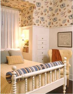 bedroom with seashell wallpaper-Broad Beach
