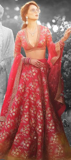 1557715: Engagement, Reception, Wedding Red and Maroon color Lehenga in Art Silk fabric with A Line Sequence, Thread work