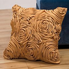 Sandy Wilson Fusion Decorative Pillow with Fabric Rose
