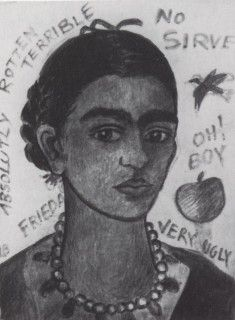 Self-Portrait -- Very Ugly, photo before damage (1933) - Kahlo