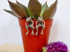 Cool Unisex Huge Frog Ear Jackets With Oxidized Finish,Animal Earring,Frog Earrings,Unisex Earring,Personalized Gifts,Frog,Gifts For Her,Him by Supsilver on Etsy