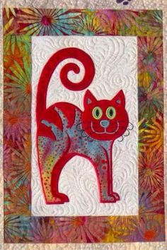 tableau chat Cat's Meow quilt, close up of machine embroidery, design by Lunch Box Quilts Cat Quilt Patterns, Applique Patterns, Block Patterns, Cat Applique, Applique Quilts, Quilt Baby, Small Quilts, Mini Quilts, Quilting Projects