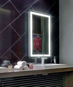 The Integrity™™ Lighted Mirror has a band of frosted light around the border, comes in seven standard sizes, and has many custom upgrade options. Wall Mirrors Horizontal, Wall Mirrors Entryway, White Wall Mirrors, Lighted Wall Mirror, Rustic Wall Mirrors, Mirror Vanity, Mirror Bedroom, Led Mirror, Bathroom Mirrors