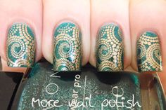 More Nail Polish: Avon Sequined Turquoise stamped with China Glaze 2030 using a swirly dot image from the DRK-B plate