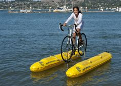 Girl riding water bike in San Francisco Bay Area, California.