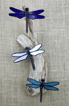 Stained Glass Dragonflies Wall Hanging Sculpture Glass Art