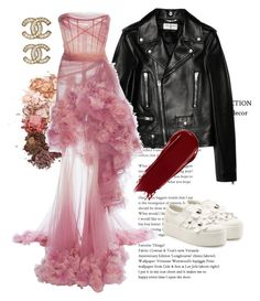 A fashion look from October 2017 featuring strapless dresses, leather biker jackets and slip-on sneakers. Browse and shop related looks. Marchesa, Slip On Sneakers, Marc Jacobs, Yves Saint Laurent, Strapless Dress, Chanel, Fashion Looks, Shoe Bag, Polyvore