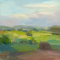 Christine Lafuente - Fox Hill, Last Light, oil on linen, 12 x 12 inches ©2010