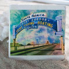 Fae Horowitz Coasters Marble Floor, Tile Floor, Travel Souvenirs, Local Artists, Santa Monica, Coasters, Flooring, Prints, Handmade