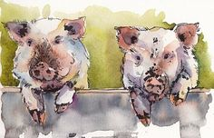 Just love these watercolor pigs