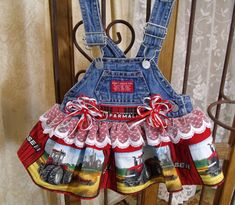 Upcycled Overall Dress, Case International Harvester, Size Months, Custom Options by FoundnFancied on Etsy Chevy Trucks Older, Old Ford Trucks, Lifted Chevy Trucks, Pickup Trucks, Overall Tutu, Old Fords, International Harvester, Truck Accessories