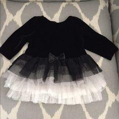 Velvet Baby Dress 3-6 mo Beautiful black velvet dress with ombré tutu skirt Dresses