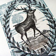 stag lino print by Mangle Prints, via Flickr