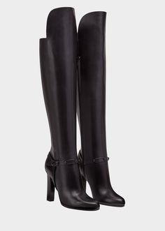 ff9d81708d Botas rodilla Signature de la colección Versace Mujer. Botas hasta las  rodillas de tacón alto