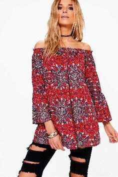 #boohoo Mixed Woven Off The Shoulder Top - multi DZZ57916 #Alexandra Mixed Woven Off The Shoulder Top - multi