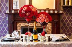 Romantic Valentine's Day Dinner pink red flowers setup
