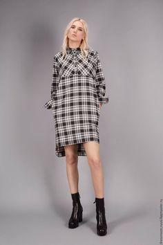 Купить Платье-рубашка в клетку - чёрно-белый, в клеточку, платье в клетку, платье на заказ