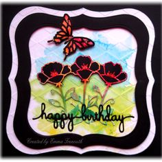 Floral birthday card, brusho background, spellbinders labels 1 and sentiment, sizzix butterfly