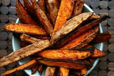 Spicy Sweet Potato Fries (now usually you see sweet potatoes on holidays with lots of sugary additions but lets go a little modern here with my awesome looking fries)