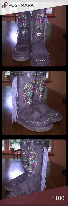 Montana West Sugar Skull Fringe Boots Montana West Sugar Skull Fringe Boots. Come with original box. Worn once. Extremely comfortable. Montana West Shoes Winter & Rain Boots