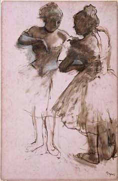 Two Dancers Edgar Degas (French, Paris 1834–1917 Paris) Date: 1873 Medium: Dark brown wash and white gouache on bright pink commercially coated wove paper, now faded to pale pink Dimensions: 24 1/8 x 15 1/2 in.