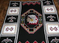 INDIAN HEAD HAND CROCHETED AFGHAN.  I made one of these afghans back in the early 80s and gave it as a gift to my sister-in-law for Christmas.