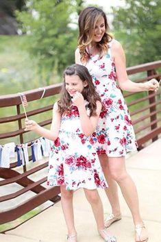 LUCKDE Mutter und Tochter Kleider Set Mother Daughter Matching Dress Kinder Sommerkleider Brautkleider Strand Maxikleid Sommer Sunsuit Familien Kleidung Mutter Kinder Kleider