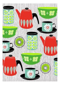 Retro Kitchen   Limited Edition Hand Printed Screen Print   Free World Wide  Shipping