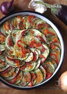 Vegan Ratatouille - gorgeous presentation. This would be easy to do with a mandoline slicer.