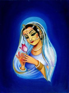 Indian Painting - Indian Woman With Lotus Flower - Blue by Alexandra Bilbija Krishna Drawing, Krishna Painting, Krishna Art, Radha Krishna Photo, Cute Paintings, Indian Art Paintings, Beautiful Paintings, Tears Art, Lotus Flower Art