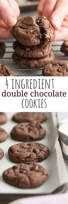 4 Ingredient Double Chocolate Cookies are so easy but you'd never know! Soft and chewy, with much less time and effort thanks to cake mix! Use any flavor!