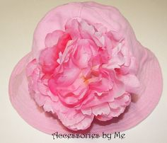 Pink Sun Hat Peony Flower by accessoriesbyme