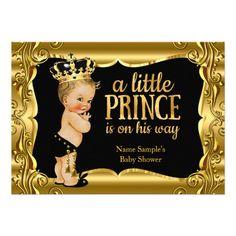 Elegant Prince Baby Shower Black Gold Blonde Boy