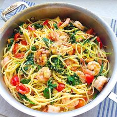 Creamy Shrimp Linguine with Tomatoes, Kale, and Lemon Zest  - Delish.com
