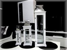 Biała latarnia ogrodowa - zawieszane świeczki tealight 3w1