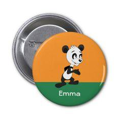 Button withpanda bear cartoon