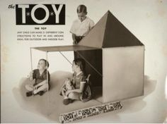 """Another Eames designed toy called """"The Toy"""" was a minimalist take on an inside tent. In the picture are Isaac Tigrett, Patricia Morgan (Milner), and Johnny Tigrett"""