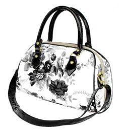 Exquisite Black and White Floral Painting Top Handle Bowler Satchel Handbag Purse Convertible Shoulder Bag