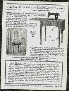 1929 Catbird Trade Card Singer Sewing Machine Artist John L Ridgway - back