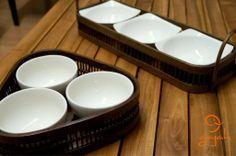 Utilitários da Indonésia. Bambu com Porcelana  www.lojagajah.com.br